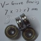 (10pcs) Bore 7mm V Groove Sealed Ball Bearings 0.276 inch vgroove bearing 7*22*7  free shipping