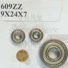 100pcs 609ZZ 609 2Z ZZ Miniature Bearings ball Mini bearing 9x24x7 9*24*7 mm ABCE1  free shipping