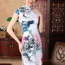 chinese Short sleeve Landscape painting dress qipao Cheongsam 140422 size 30-38