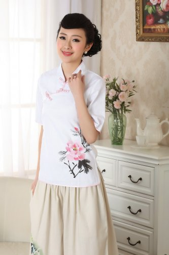 chinese jacket Linen printing short sleeve Top blouse size 30-40 white 140906