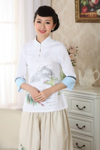 chinese jacket Linen printing short sleeve blouse Landscape painting top 140910