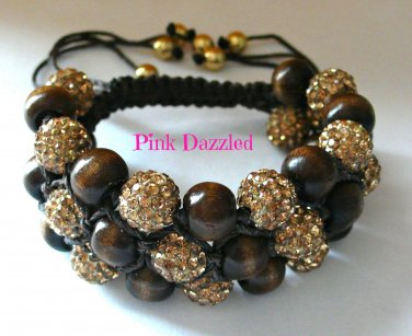 3 Row Brown Crystal Pave Disco Ball and Wood Bead Bracelet