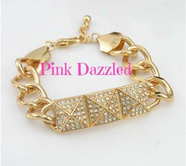 Rhinestone Pyramid Chunky Chain Bracelet