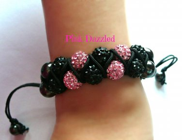 Pink and Black Crystal Disco Ball Double Row Zig Zag Bracelet