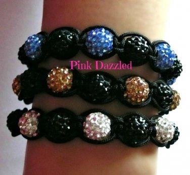 Two-Tone Pave Crystal Macrame Bracelets-Unisex