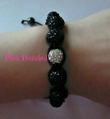 White Pave Crystal Accent and All Black Shamballa Inspired Bracelet-Unisex