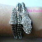 Crystal Encrusted Silver Coiled Snake Mesh Bracelet