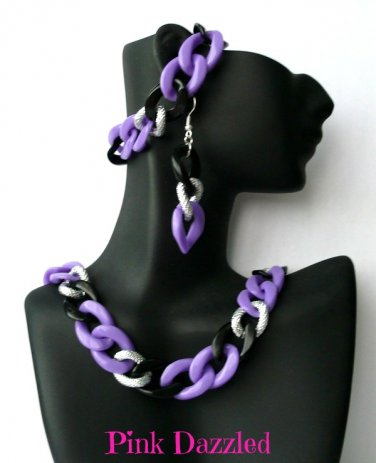Purple Chunky Chain Jewelry Set-Earring, Necklace, Bracelet