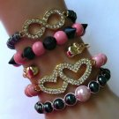 "New ""Forever Love"" Pink and Black Arm Candy Bracelet Set"