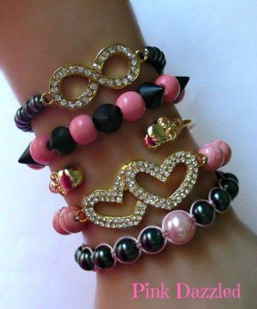 "New ""Forever Love"" Pink and Black Arm Candy Bracelet Set"