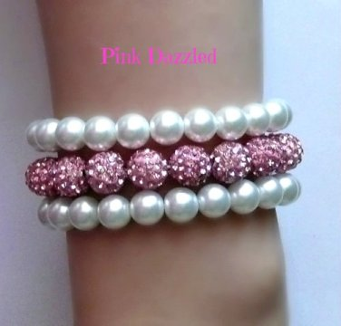 Pink Pave Crystal and Pearl Three Row Dazzling Bracelet