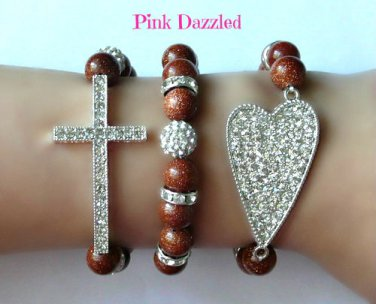 Shimmery Gold Natural Sandstone Cross and Heart Arm Candy Bracelet Set