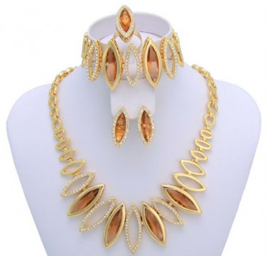 Marquise Citrine Rhinestone Encrusted Royal Set