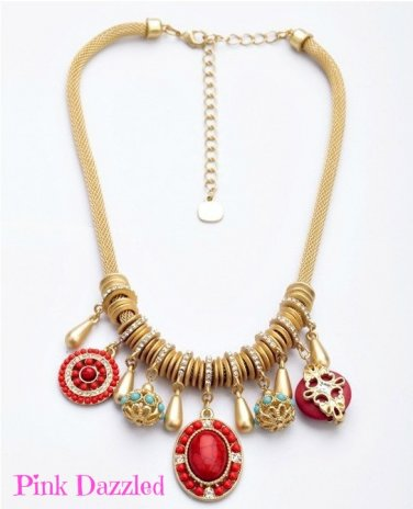 Mixed Coral Charm Gold Fashion Necklace