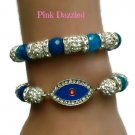 Pave Crystal Blue Evil Eye Bracelet Set Arm Candy