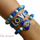 Royal Blue Rhinestone Encrusted Flower and LOVE Howlite Arm Candy Bracelet Set