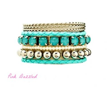 Braided & Twisted Stacking Light Teal Arm Candy Bangle Set
