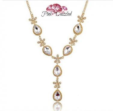 Austrian Crystal Flower Teardrop Lariat Necklace