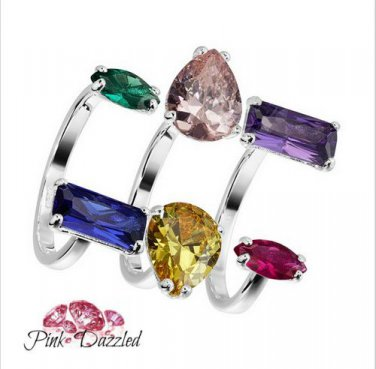 Colorful Cubic Zirconia Sterling Silver Cage Ring
