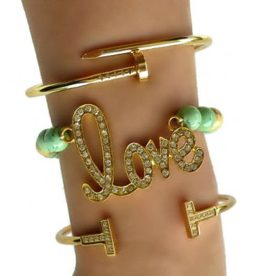 """Pave Gold """"LOVE"""" Arm Candy Set"""