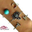 Boho Turquoise Silver Arm Candy Bracelet Set
