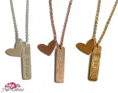 LOVE YOU MORE Heart Pendant Necklace