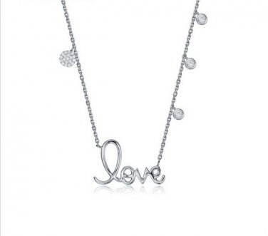 White Gold Cubic Zirconia Charm LOVE Necklace