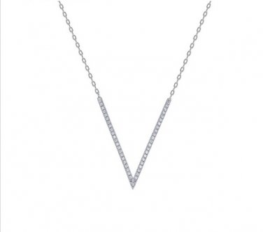 White Gold Cubic Zirconia V Pendant Necklace