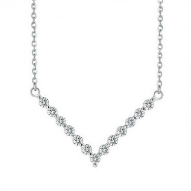 "Cubic Zirconia ""V"" Necklace"