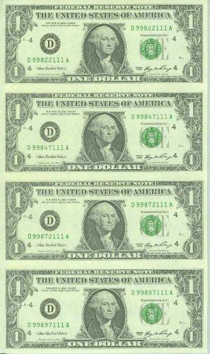 GEM UNCUT $1 FRN : New Series 2006 : 4-subject sheet