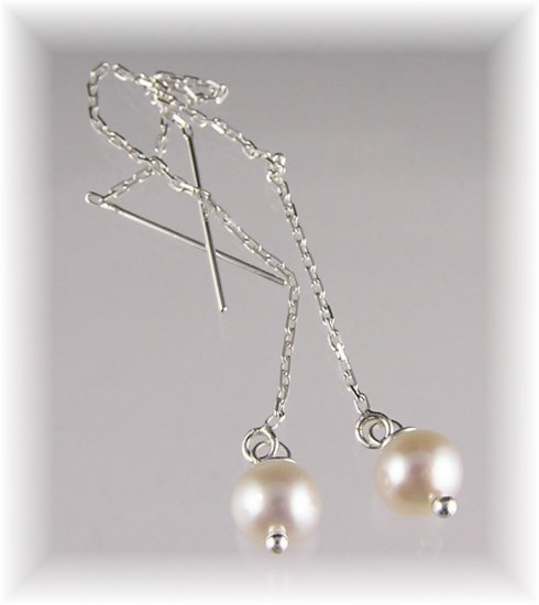 Freshwater Pearl Sterling Silver Threader Earrings
