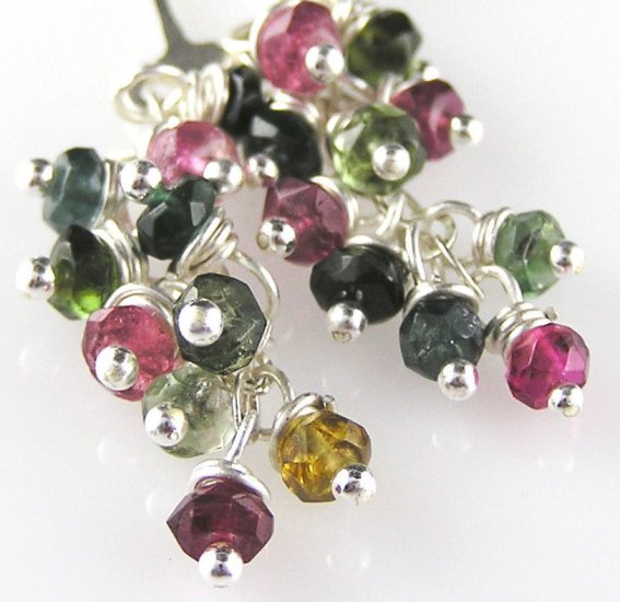 "Faceted Multicolored Tourmaline Earrings ""Confetti"""