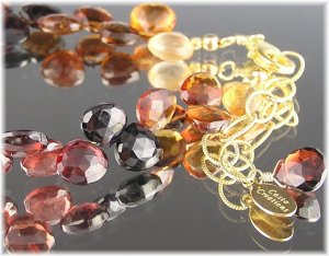 "Tundra Sapphire Faceted Teardrop Gemstone Bracelet ""Autumn"""