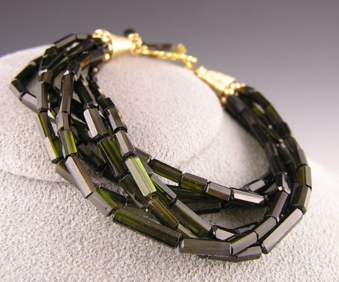 "Green Tourmaline Faceted Barrel Bracelet ""California Sea Grass"""