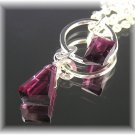 Rhodolite Garnet Pink-ish Fine Silver Pendant Drop Necklace