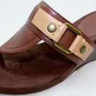 NEW NINE WEST LETGO Dark Brown Platform Flops Women's Shoes Size-9.5M