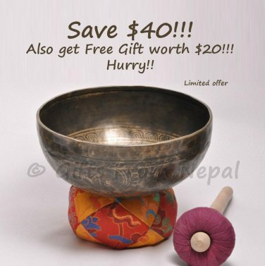 "9"" Hand Hammered/Painted Singing Bowl, Meditation Bowls,Handmade in Nepal 2025"