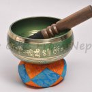 "5"" Tibetan Singing Meditation Bowl - Green ,Handpainted ,Handmade in Nepal 2045g"
