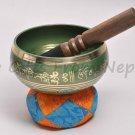 "5"" Tibetan Singing Meditation Bowl - Green ,Handpainted ,Handmade in Nepal 2045g"