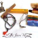 "5"" Tibetan Hand Hammered SINGING BOWL~ BELL~ BEADS MALA~ PRAYER FLAG ~ INCENSE"