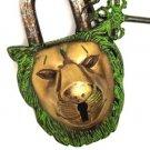 Nepalese Tibetan Handmade Antique Finish Brass Lion Door Lock - From Nepal 101L