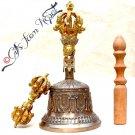 "Tibetan Buddhist Meditation 9"" Bronze Bell & Vajra /Dorje - 110B"