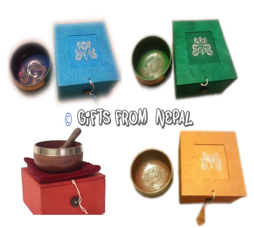 "4.5"" Singing Bowl Gift Sets - Set of 4 colour -Gifts from Nepal"