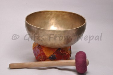 "10"" Hand Hammered Singing Bowl,Made of 7 metals,Meditation Bowls from Nepal 2057"