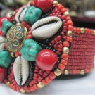 Tibetan Handmade Red Glass Beads Jewelry Box,Gau,Turquoise,pendant Box 105J