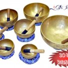 Tibetan Chakra Healing Buddhist Yoga Hand Hammered MEDITATION SINGING BOWL SET