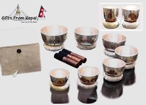 Tibetan Singing Bowl Meditation Engraved Carved and Itched Yoga Chakra Set of 7