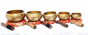 Tibetan Hand Beaten Singing Bowl - Hand Beaten Healing Chakra Set - Set of 5