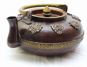 Handmade Tibetan Teapot Decorative Antique Design Buddhist Brown Teapot