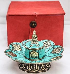 Green Tibetan Artistic Lotus Incence Burner